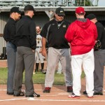 Chris Walters, Chris Marco, and Bill Tunney prior to an IBL game at Bernie Arbour Stadium on June 13, 2014