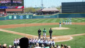 Two-umpire system national anthem with catcher